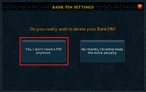Removing a Bank PIN – Support